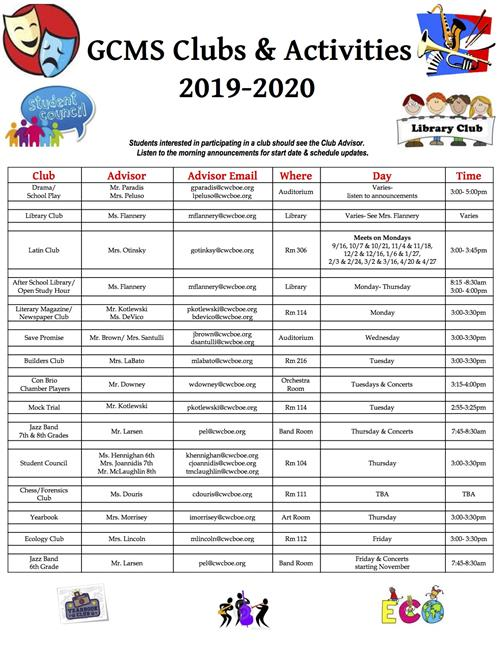 2019-20 School Clubs List