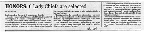 Caldwell Volleyball Players Earn Honors Pg 2