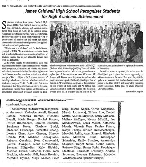 High School Recognizes Students for Academic Achievement