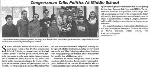 Congressman Talks Politics At Middle School (The Caldwell News March 2016)