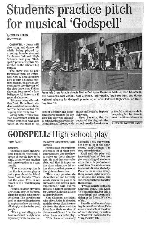 Students Practice for 'Godspell' (The Progress 11/3/16)