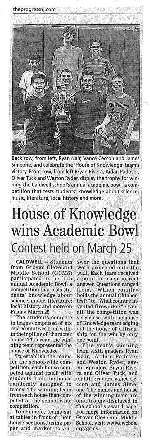 GCMS House Of Knowledge Wins Academic Bowl (The Progress 4/14/16)