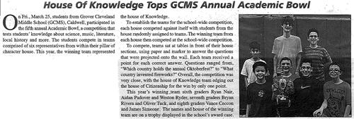 GCMS House of Knowledge Tops Annual Academic Bowl (The Caldwell News April 2016)