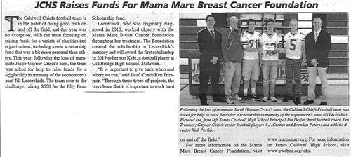 JCHS Raises Funds for Mama Mare Breast Cancer Foundation (The Caldwell News March 2016)