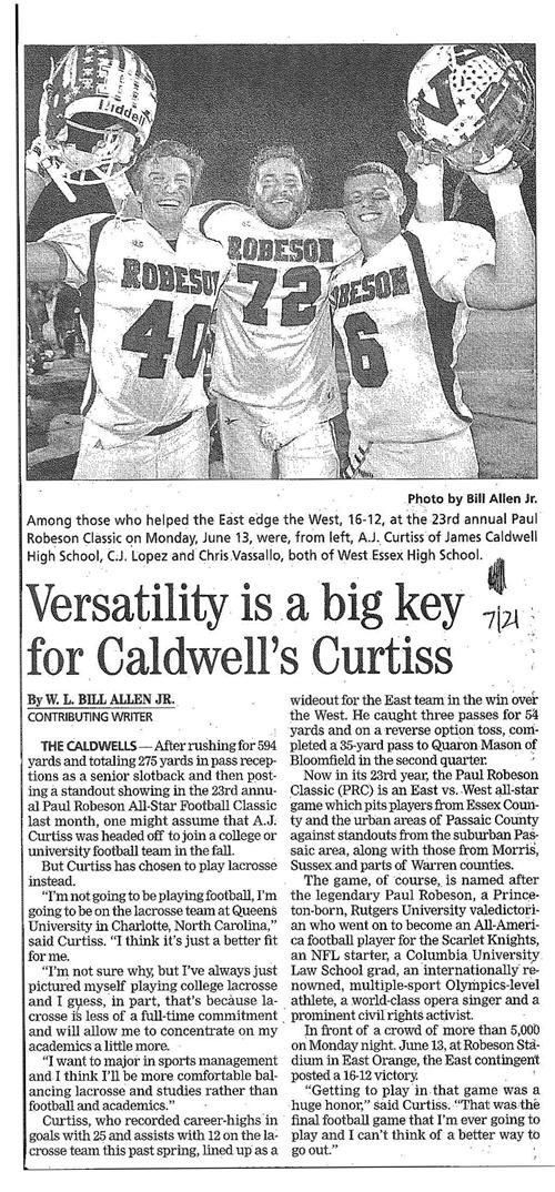 Versatility Key for Caldwell's Curtiss (The Progress 7/21/16)