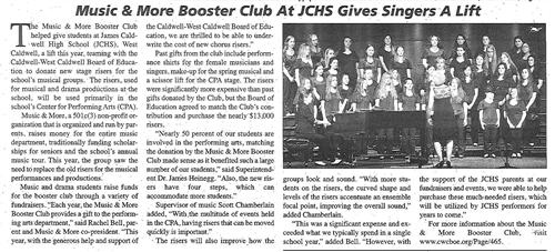 JCHS Music & More Booster Club Gives Singers A Lift (The Caldwell News March 2016)