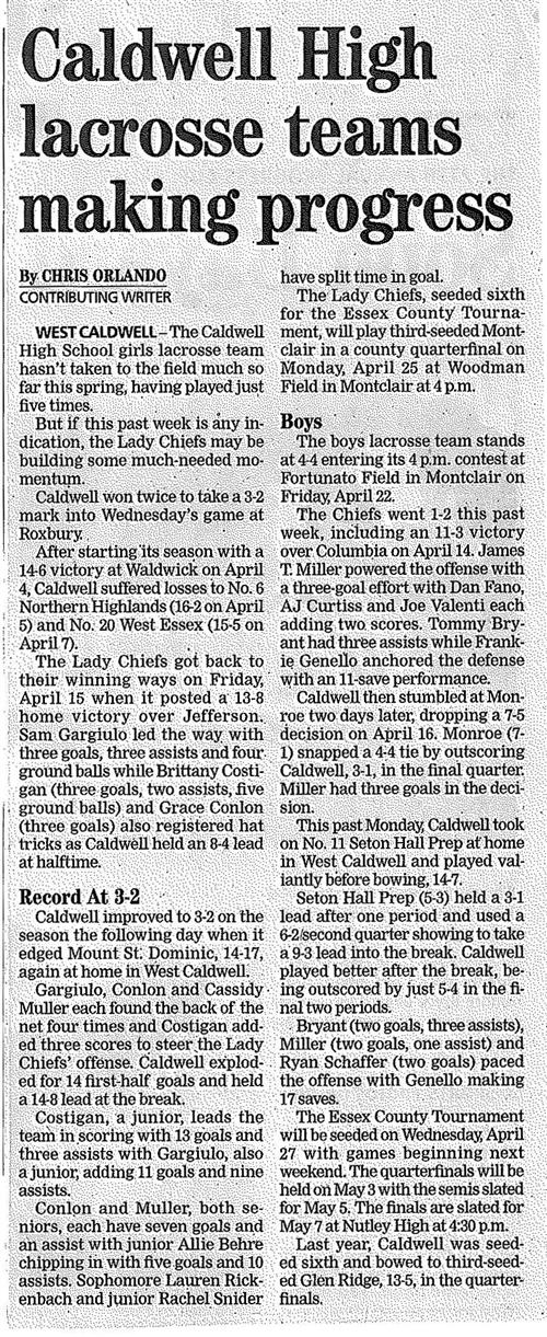 JCHS Girls and Boys Lacrosse (The Progress 4/21/16)