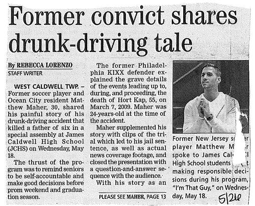 Former Convict Shares Drunk Driving Tale with Students (The Progress 5/26/16)