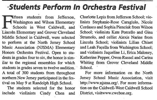 Caldwell Students Perform in Orchestra Festival