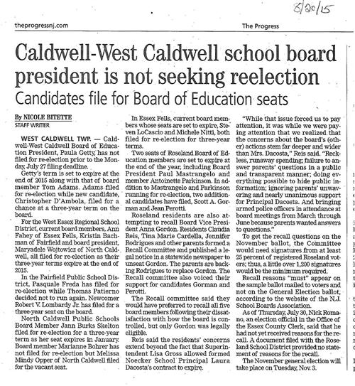 CWC School Board (The Progress 8/20/15)