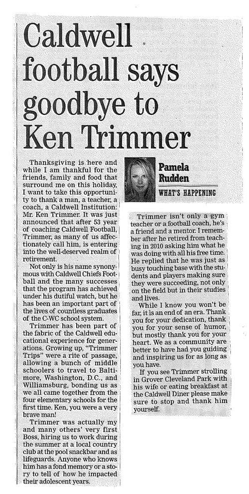 Caldwell Football Says Goodbye to Ken Trimmer (The Progress 11/24/16)