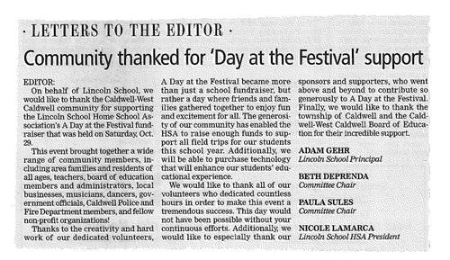Community Thanked For 'Day at the Festival' (The Progress 11/10/16)