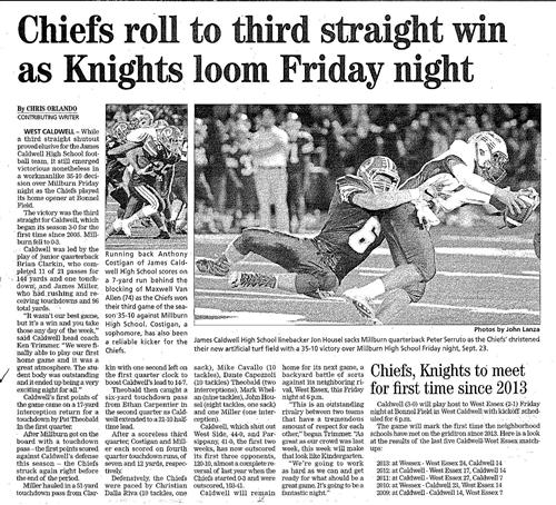 JCHS Football - Chiefs Roll to 3rd Straight Win (The Progress 9/29/16)