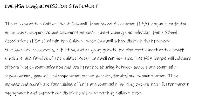 HSA League Mission Statement