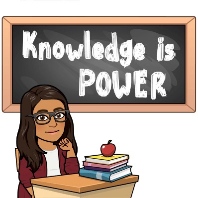 Knowledge is power quote, a teacher at her desk with an apple on top